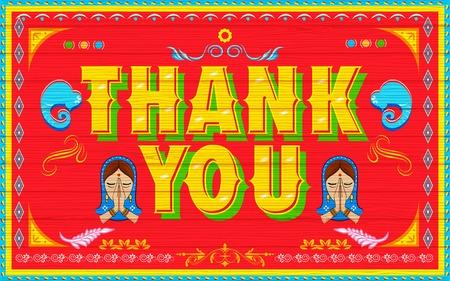 namaste: illustration of Thank You Poster India truck paint style