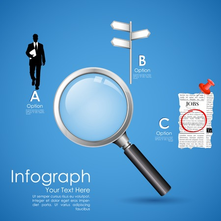 office tool: illustration of searching job in newspaper with magnifying glass