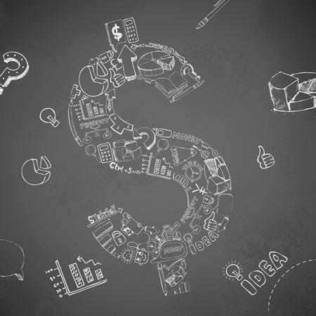 doddle: illustration of business dollar doddle Illustration