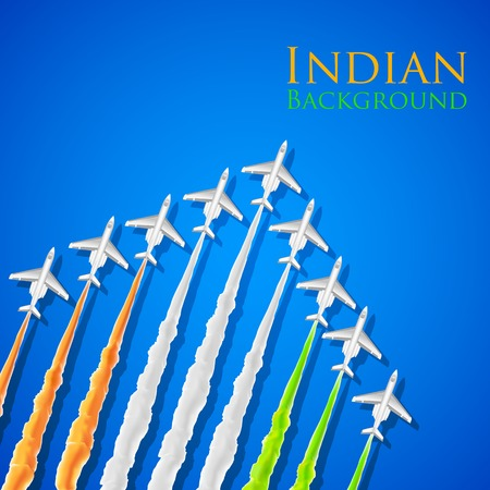 aug: illustration of airplane making Indian tricolor flag in sky
