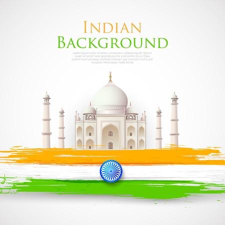 삼색 인도 국기와 함께 타지 마할의 그림 일러스트
