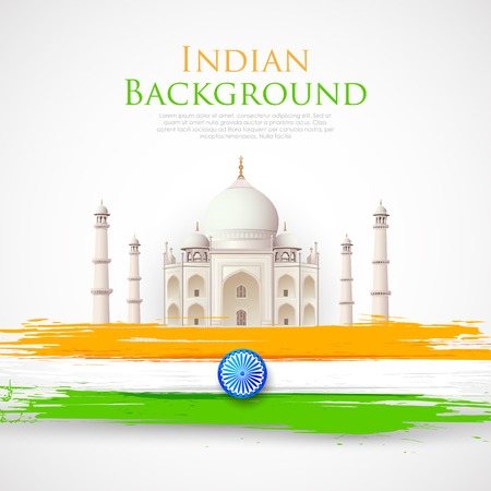 illustration of Taj Mahal with Tricolor India Flag Vector