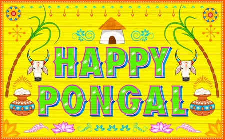 pongal: illustration of Happy Pongal background in Indian truck style