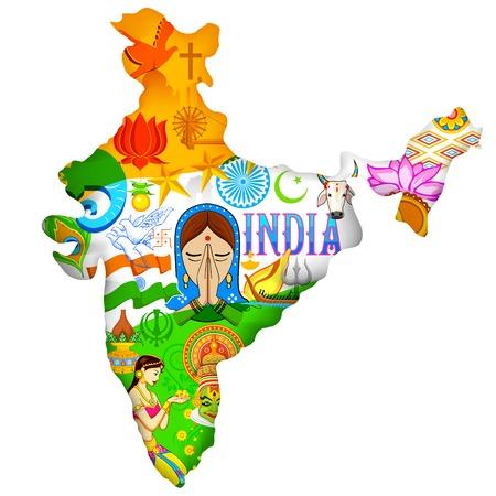Ilustración de la India mapa que muestra la cultura de la India