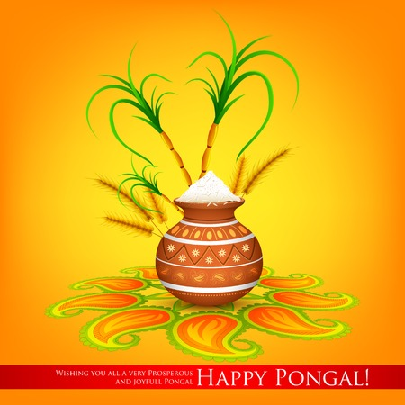 pot: illustration of Happy Pongal greeting background