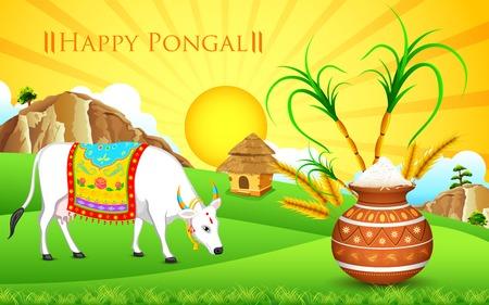 harvest festival: illustration of Happy Pongal greeting background