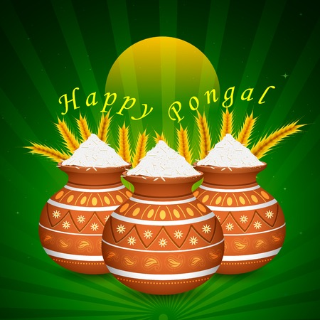 agriculture india: illustration of Happy Pongal greeting background