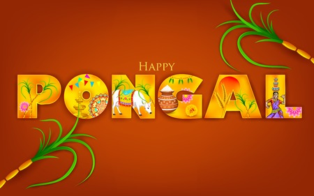 pongal: illustration of Happy Pongal greeting background