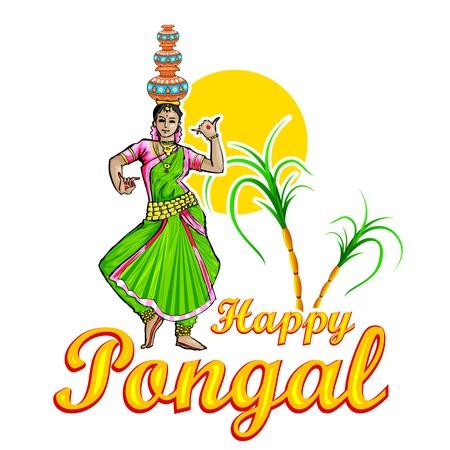 Illustrazione di Happy Pongal saluto sfondo Archivio Fotografico - 25731135