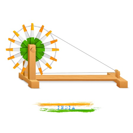 rural india: illustration of tricolor charkha (spinning wheel) on India background