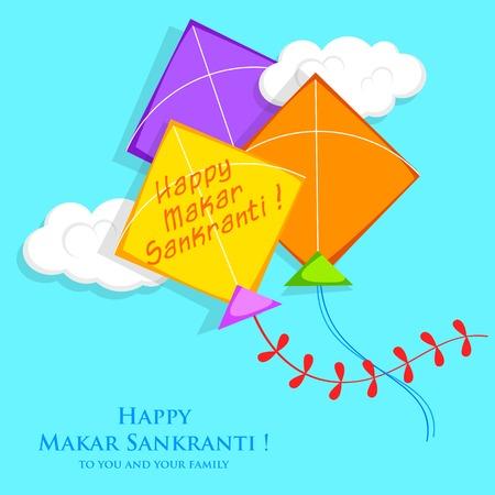 papalote: ilustración de Makar Sankranti Wallpaper con coloridas cometas Vectores