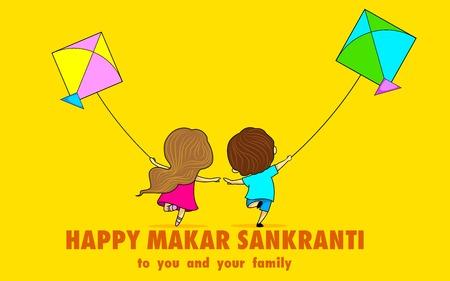 sacra famiglia: illustrazione di Makar Sankranti wallpaper colorato con aquilone