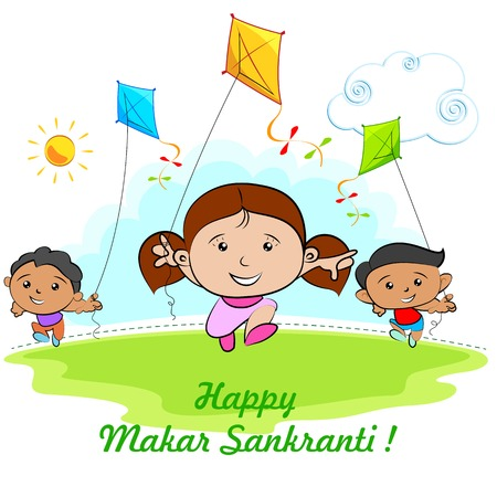 flying a kite: illustration of Makar Sankranti wallpaper with colorful kite