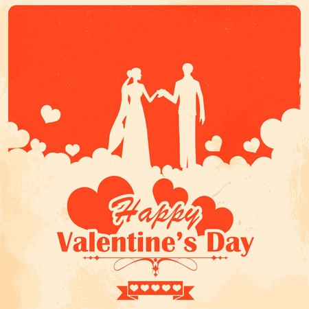 illustration of retro love background for happy valentines day card Illustration