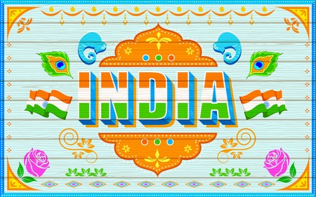 independence day: illustration of India background in truck paint style Illustration