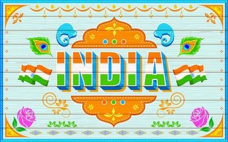 bandera de la india: ilustración de la India de fondo en el estilo de pintura de camiones