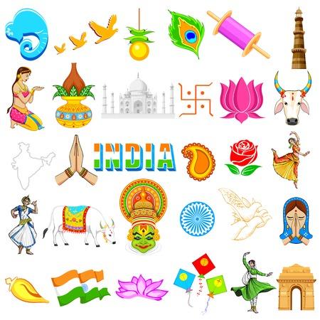 simbolos religiosos: Ilustraci�n del conjunto de la India festivales icono que muestra en la India