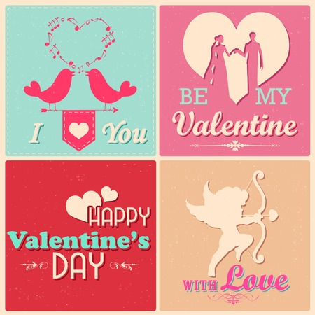 illustration of retro style love background for Valentines Day Vector