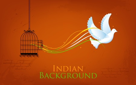 illustration of dove flying out from cage showing freedom of India Illustration