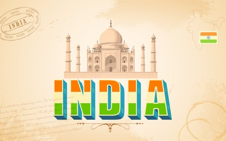 illustration of Taj Mahal in India background Vector
