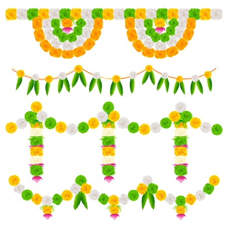 tri color: illustration of tri color flower arrangement for India festival decoration