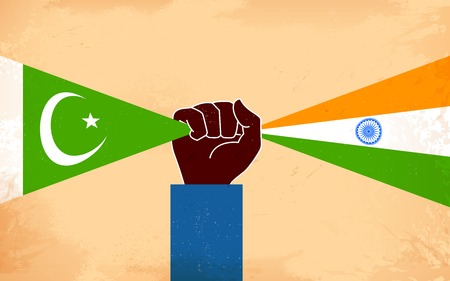 pakistan flag: illustration of hand joining flag of India and Pakistan