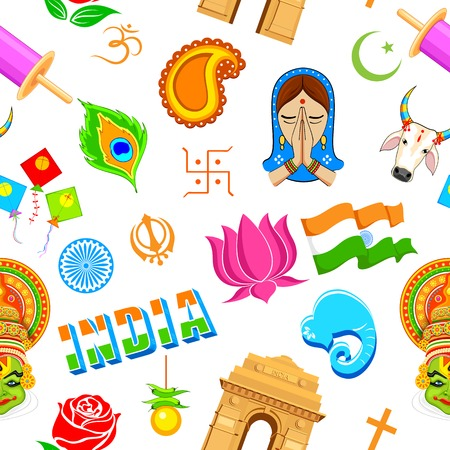 illustration of seamless Indian pattern with colorful icon Vector