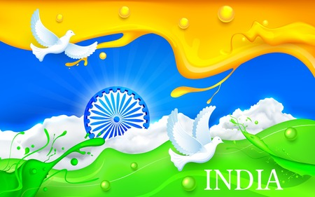 illustration of dove flying with Indian tricolor flag showing peace Vector