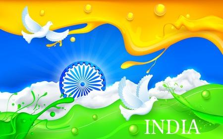 paloma volando: ilustraci�n de paloma volando con tricolor india que muestra la bandera de la paz