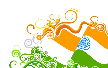 independence day: illustration of abstract floral Indian flag