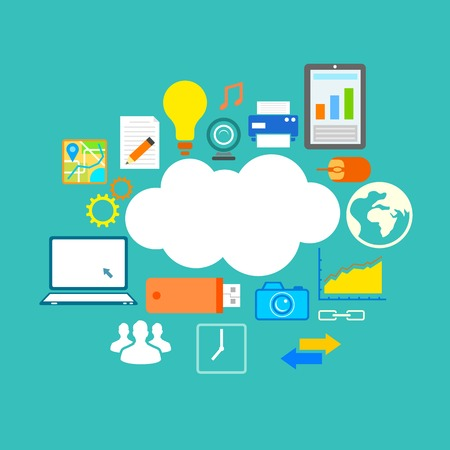 illustration of flat design of technology showing icon in cloud computing concept Illustration