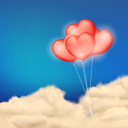 illustration of Heart Balloon in Cloudscape for love background Vector