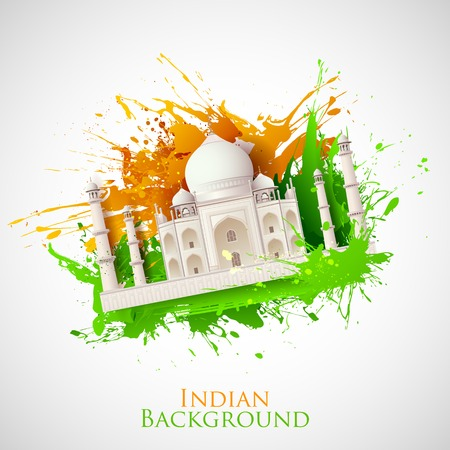 illustration of Taj Mahal with Tricolor India grunge Ilustração