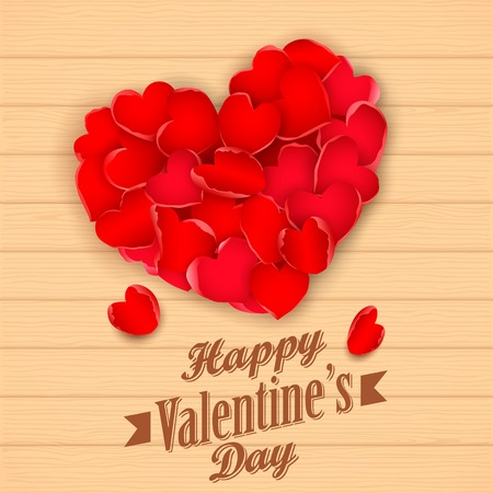 illustration of heart made of rose petals in Happy Valentines Day