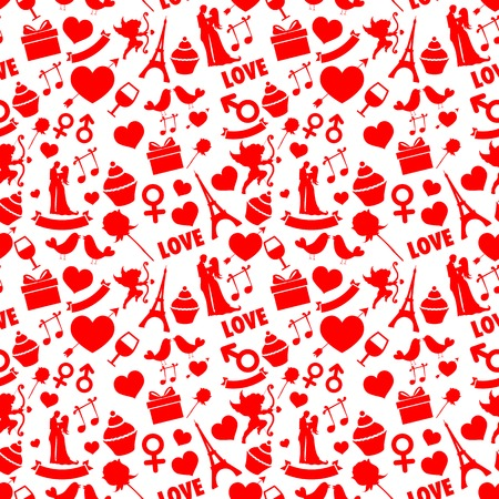 illustration of seamless love pattern background Vector