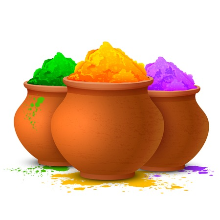 illustration of colorful gulal ( colors powder ) for Happy Holi Vector