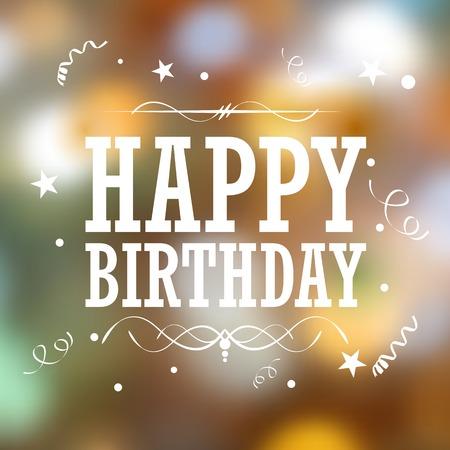 ilustración de feliz cumpleaños de la tipografía de fondo