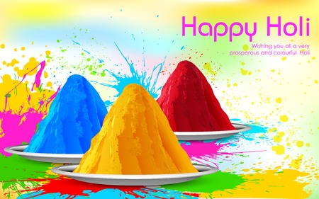 thali: illustration of colorful gulal ( colors powder ) for Happy Holi