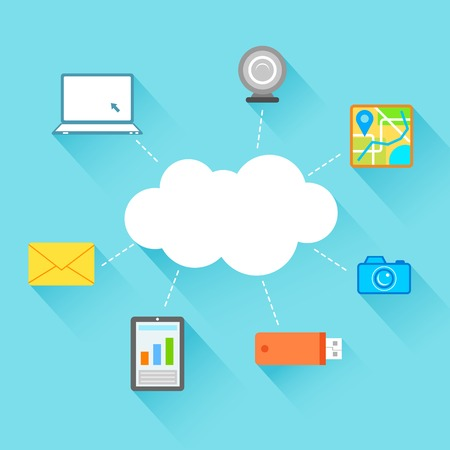 centralized: illustration of flat design of technology showing icon in cloud computing concept Illustration