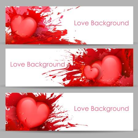 truelove: illustrazione del set di amore banner con il cuore