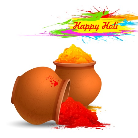 dhulandi: illustration of colorful gulal ( colors powder ) for Happy Holi