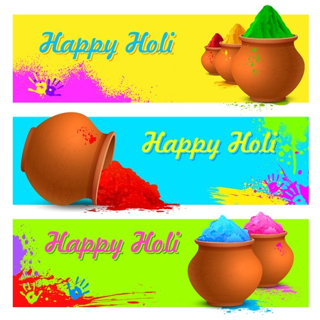 happy holi: illustration of colorful gulal ( colors powder ) for Happy Holi