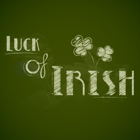 illustration of Saint Patricks Day background with clover leaf in chalkboard Vector