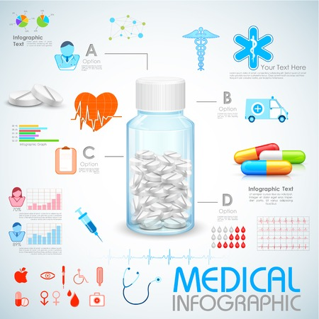 illustration of Healthcare and Medical Infographics Vector