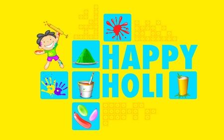 happy holi: illustration of colorful Happy Holi flat design background Illustration