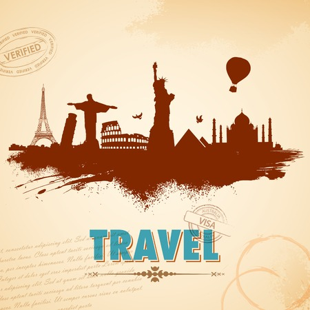 cristo: illustration of of travel background with world famous monument
