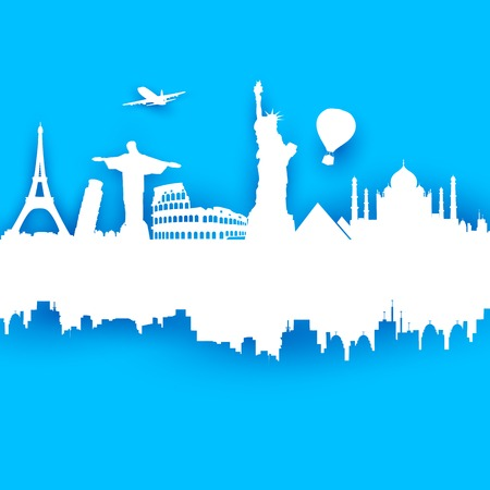 illustration of of travel background with world famous monument Vector