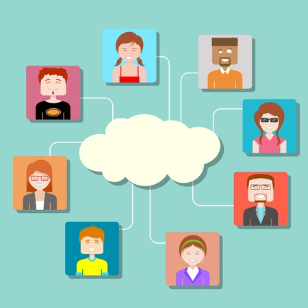illustration of social media cloud computing network with people connected in flat style Vector