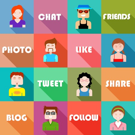 www community: illustration of flat design for social networking concept Illustration