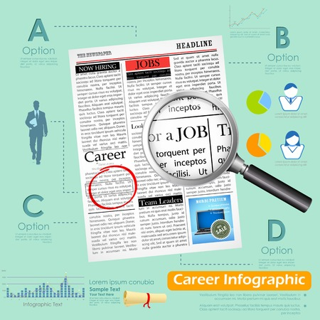 wanted: illustration of career infographics with job search